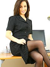 Classy Legs, Sexy Mel slowly teases her way out of her secretary outfit in the office