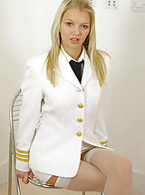 Busty Secretary, Sexy blonde Sam in pilots uniform with stockings