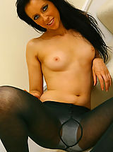 Pantyhose Pics: Fabulous Felix in cute college uniform with sexy black pantyhose.