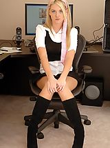 Secretary Pics: Alison Angel plays in her office