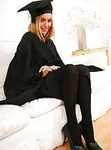 Long Legs, Stunning headmistress shows off her sexy pink lingerie and black stockings.