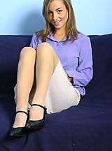 Blue High Heels, Melanie in a smart shirt