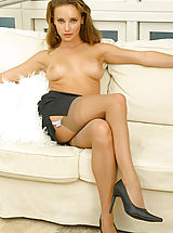 suspender belt, Stacey in secretary outfit with stockings