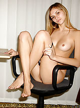 Secretary Pics: Katrina strips off to show her unbelievably sexy body on this clerical chair