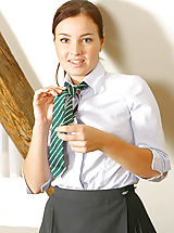 Pantyhose Pics: Cute Irena in college uniform with pantyhose