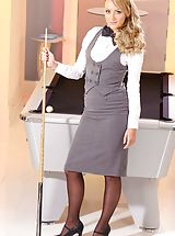 Office Sex, Pool hustler Sara wearing tight fitting skirt suit and black stockings