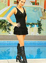 High.Heels Pics: Carla in sexy black outfit by a pool