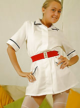 denim skirts, Lucy Anne is looking amazing in nurse uniform with silk lingerie and stockings