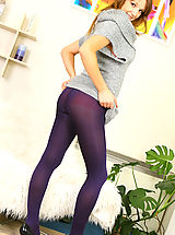 cheap lingerie, Sexy Jasmine wearing a small minidress with purple pantyhose