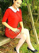 lingerie video, Stunning Carla in red college uniform and white pantyhose.
