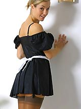 Melanie in a french maids outfit.