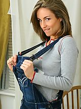 fine lingerie, Melanie in a cute denim dungaree minidress and thick woolen pantyhose.