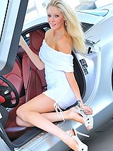 Pink Heels, Emily strips from her white dress