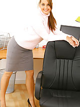 Office Sex, Busty secretary Jenkins strips out of her sexy secretary outfit
