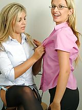 Leah & Naomi K in secretary outfits