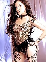Lingerie Pics: Sasha in fishnets. Look out!