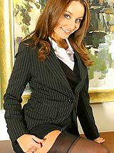 Office Sex, Carla in a smart suit with sexy lingerie.