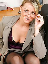 Office Sex, Stunning blonde secretary takes off her clothes and shows off sexy lingerie.