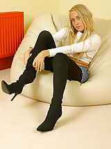 Lucy Anne looking as gorgeous as ever with denim mini and wool pantyhose