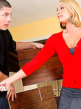 Secretaries, Mellanie Monroe calls over he young contractor to ride his innocent cock.