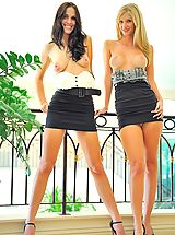 under skirt, Kirsten and Natalie play in public