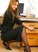 Naughty Office, Blonde secretary slips out of skirt and sexy lingerie.
