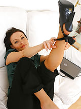 Black High Heels, Sexy Carla looks glorious as she teases her way out of her black secretary out Non Nude