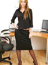 Long Legs, Blonde secretary slips out of skirt and sexy lingerie. Non Nude