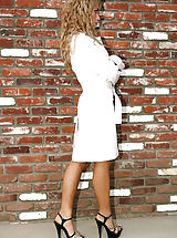 Classic Pumps, Capri Cavalli stops by her neighbors in a trench coat and not much else and fucks her friends husband.