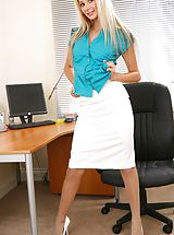 Sexy Secretary, Breathtaking blonde teases her way out of the satin blouse and knee length skirt. Non Nude