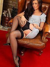 Sexy Legs, Natalia knows exactly how to impress her boss and brightens his day with a sexy striptease.