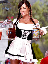 Luscious Lisa Ann is ready to serve you up a tall, cold one in one of her gigantic jugs but wants a hot, fat one in return!