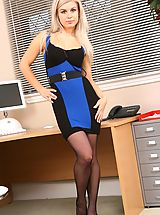 Legs High Heels, Pretty blonde secretary in a tight black and blue dress and stockings.