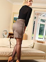 Naughty Secretary, Stacey treats us to flashes of her holdup  her miniskirt