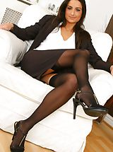 Stiletto Heels, Gorgeous brunette Isla looks stunning in her sexy brown secretary outfit Non Nude