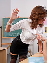 Hot Legs, Sexy teacher Veronica Avluv squirts all over a big cock.