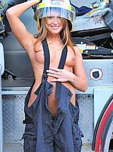 Kiera gets naked on a fire truck