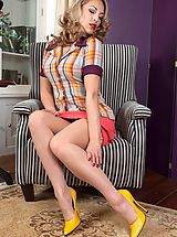 Blue High Heels, JJessica gorgeously provocative in pantygirdle and stockings