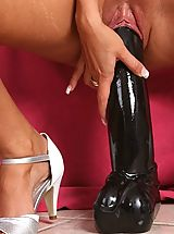 Black High Heels, Slut fucks two huge dildos