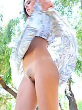 Upskirt Pics, Cassidy flashes her tits outdoors