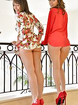 Spike Heels, Naked Woman Athena and Mindy Cousins In Red