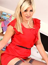 lingerie femme, Amy in red secretary dress and stockings