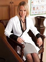 Sexy doctor Kimberly gets bum unclothed on the office desk.