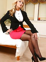 High Heels Legs, Secretary Alana looks amazing dressed in a black jacket and pink miniskirt after work. Non Nude