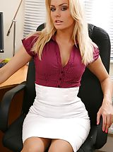 Between Legs, Blonde looks stunning in her office wearing a tight blouse and a tight long white skirt. Non Nude