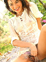 Asian Women lincy leaw 04 forest shower wet shirt