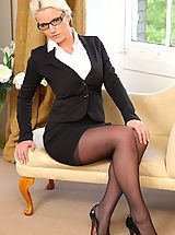 Long Legs, Busty Billie in her office uniform