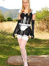 corset and stockings, Sexy french maid decides to relax and takes off her uniform.