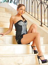 FTV Girls Pics: Mallorie plays on the stairs