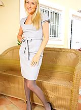 Hot Legs, Lucy Anne looks amazing as she teases her way out of her sexy secretary outfit